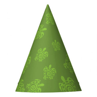 Swirly Turtle Green Pattern Party Hat