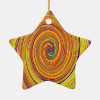 Swirly Twirly Brightly Colored Abstract Ceramic Ornament