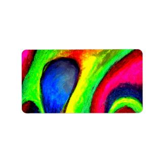 Swirly Twirly Neon Pattern Label