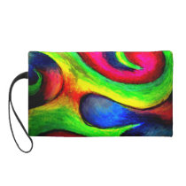 Swirly Twirly Neon Pattern Wristlet Purse
