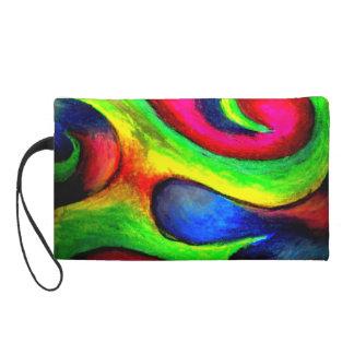 Swirly Twirly Neon Pattern Wristlet Purse