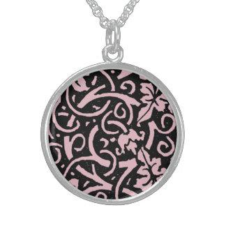 Swirly vine Pattern Black and Pink Pattern Round Pendant Necklace