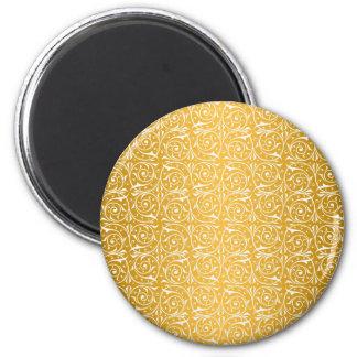 Swirly Vines in Yellow Pattern Magnet