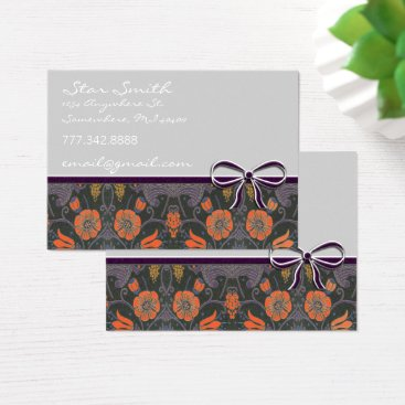 Professional Business Swirly Vintage Floral Orange and Plum Business Card