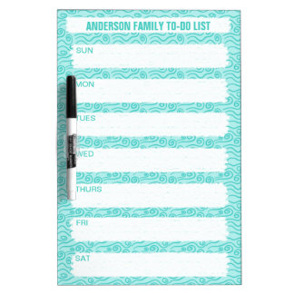 Swirly Water Blue Ocean Waves Personalized Family Dry Erase Board