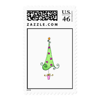Swirly Whimsical Christmas tree Postage Stamps