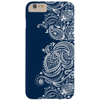 Swirly White Lace On Changeable Blue Background Barely There iPhone 6 Plus Case