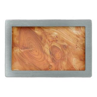 Swirly wood rectangular belt buckle