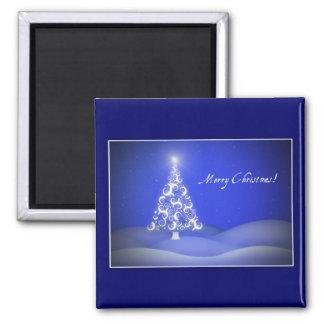 Swirly Xmas Tree 2 Inch Square Magnet