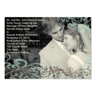 Swirly Your Photo Wedding Invitation Blue & Brown