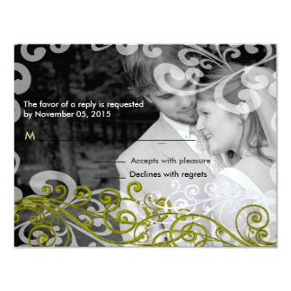 Swirly Your Photo Wedding Reponse Card
