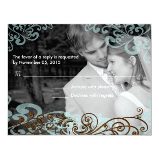 Swirly Your Photo Wedding Reponse Card Blue  Brown