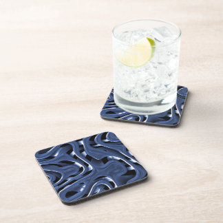 Swiryly Blue Chrome Abstract Art Beverage Coaster