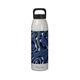 Swiryly Blue Chrome Abstract Art Water Bottles