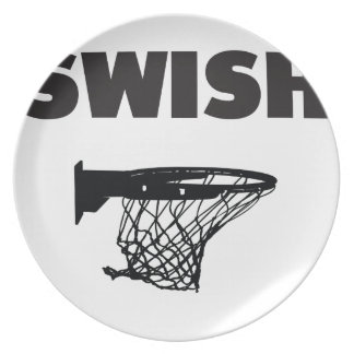 Swish basketball dinner plate