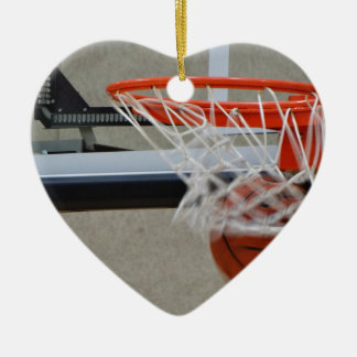Swish Basketball Hoop Double-Sided Heart Ceramic Christmas Ornament