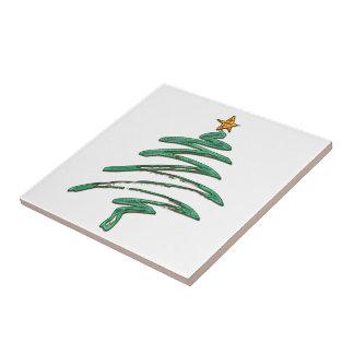 Swished Metallic Green Xmas Tree Small Square Tile