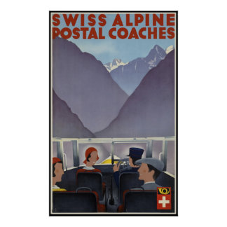 Swiss alpine postal coaches posters