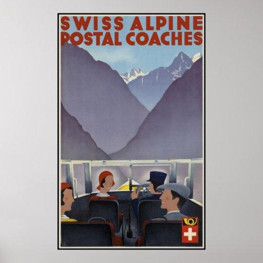 Swiss alpine postal coaches poster