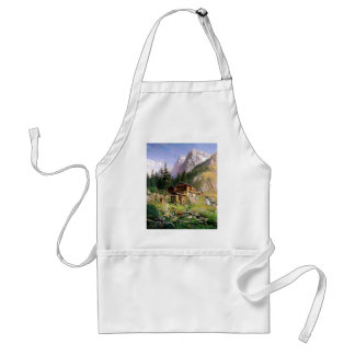 Swiss Alps Log Cabin painting Adult Apron