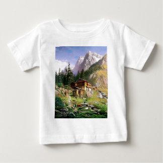 Swiss Alps Log Cabin painting Baby T-Shirt
