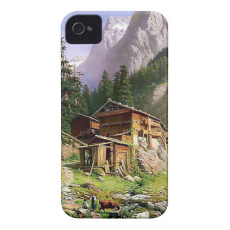 Swiss Alps Log Cabin painting iPhone 4 Cover