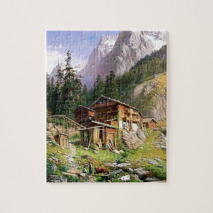 Swiss Alps Log Cabin Painting Jigsaw Puzzle Zazzle