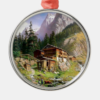 Swiss Alps Log Cabin painting Round Metal Christmas Ornament