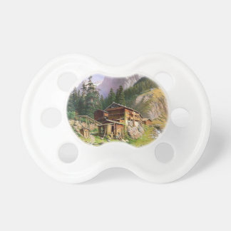 Swiss Alps Log Cabin painting BooginHead Pacifier