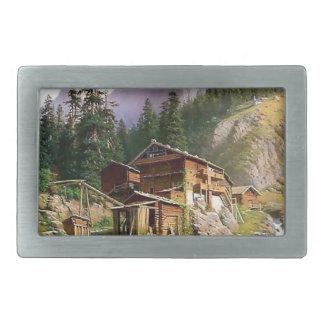 Swiss Alps Log Cabin painting Rectangular Belt Buckle