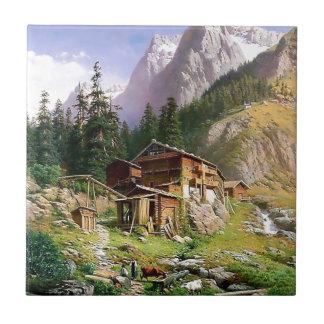 Swiss Alps Log Cabin painting Ceramic Tiles