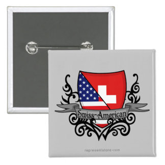Swiss-American Shield Flag Buttons