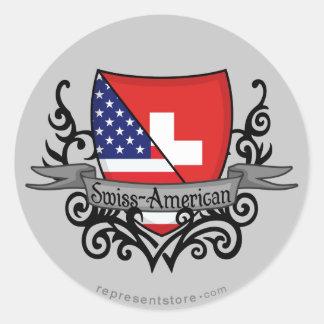Swiss-American Shield Flag Classic Round Sticker