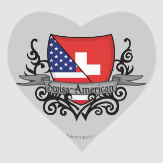 Swiss-American Shield Flag Heart Sticker