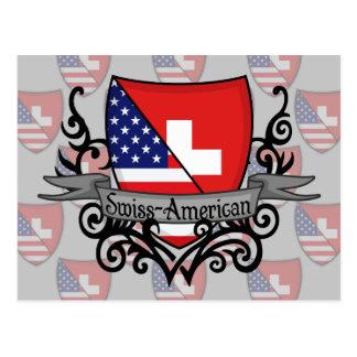 Swiss-American Shield Flag Postcard