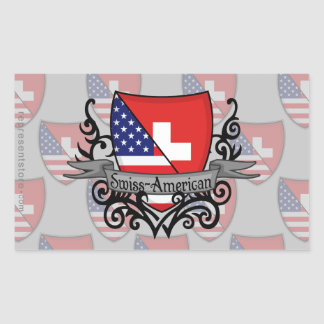 Swiss-American Shield Flag Rectangular Sticker