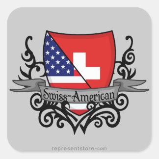 Swiss-American Shield Flag Square Sticker