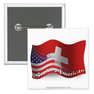 Swiss-American Waving Flag 2 Inch Square Button