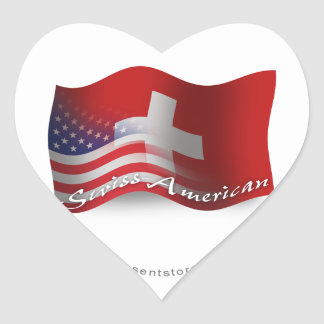Swiss-American Waving Flag Heart Sticker