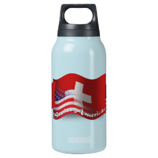 Swiss-American Waving Flag Insulated Water Bottle