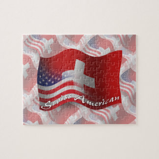 Swiss-American Waving Flag Jigsaw Puzzle