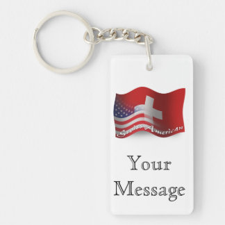 Swiss-American Waving Flag Double-Sided Rectangular Acrylic Keychain