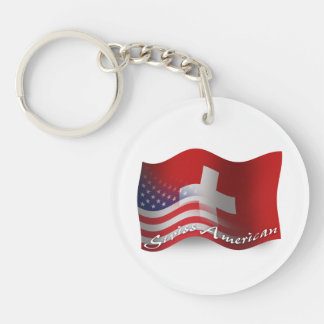Swiss-American Waving Flag Double-Sided Round Acrylic Keychain