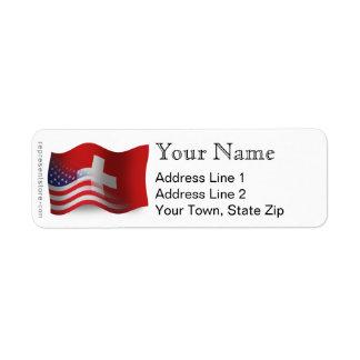 Swiss-American Waving Flag Label