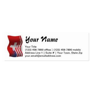 Swiss-American Waving Flag Mini Business Card