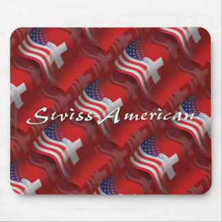 Swiss-American Waving Flag Mouse Pad