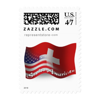 Swiss-American Waving Flag Postage Stamp