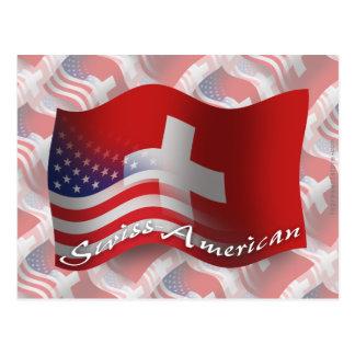 Swiss-American Waving Flag Postcard