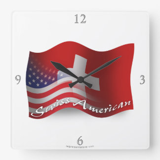 Swiss-American Waving Flag Square Wall Clock