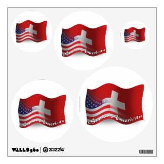 Swiss-American Waving Flag Wall Sticker